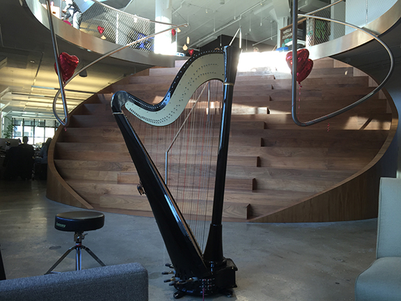 Erin's harp, ready to play a NYC party