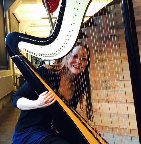 erin plays harp at wieden kennedy in manhattan erin. Black Bedroom Furniture Sets. Home Design Ideas