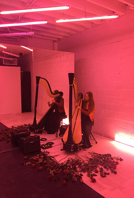 NYC Harpist Erin Hill plays her electric harp at Open Space Gallery