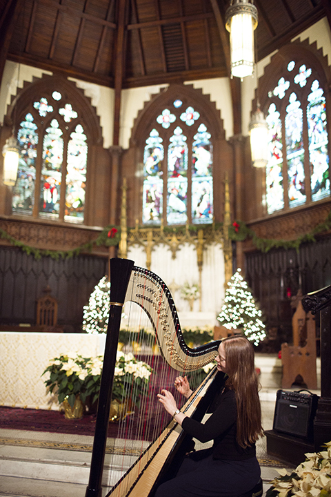 NYC harpist Erin Hill playing for a wedding ceremony at Holy Trinity Church in Manhattan