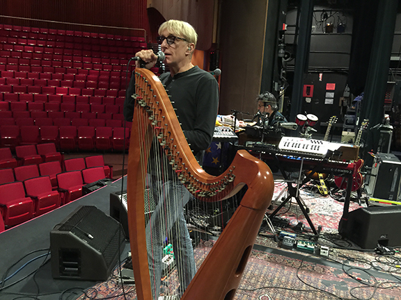 Will Lee with Erin's harp at The Egg