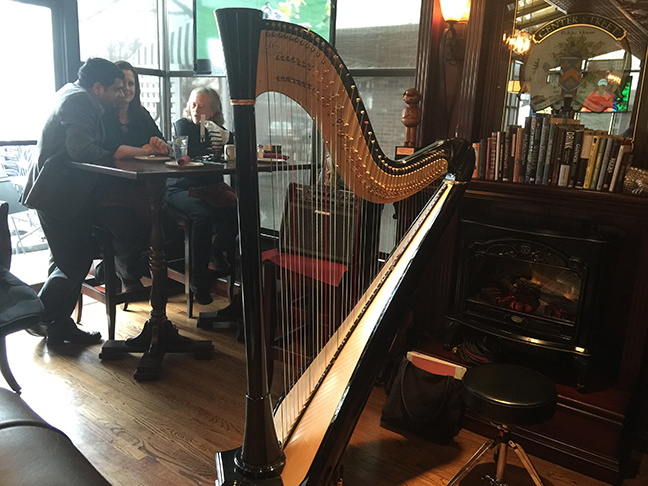 Erin Hill's harp at Center Street Pub