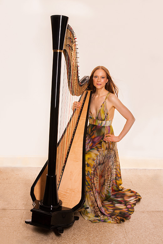 NYC harpist Erin Hill with her electric harp, V'ger